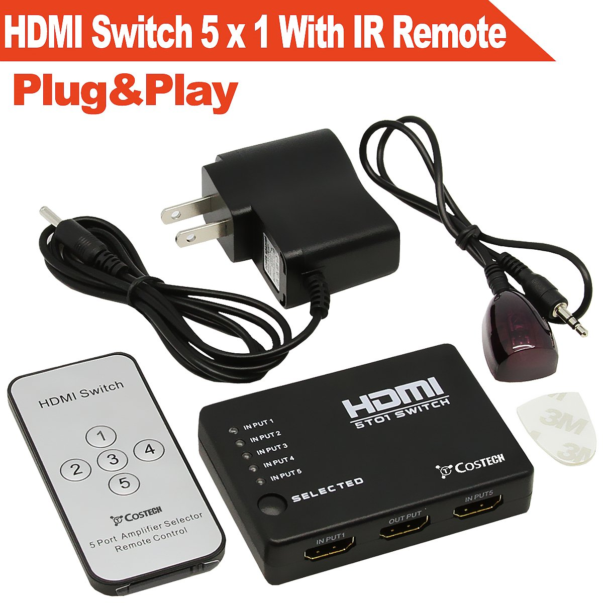 Top 10 Best Hdmi Switchers With Ir Remote Reviews 2019 2020 On Switch 5 In 1 Output Splitter Hub Costech 5x1 Hd 1080p Plug And Play Auto Control Ac Charger Supports