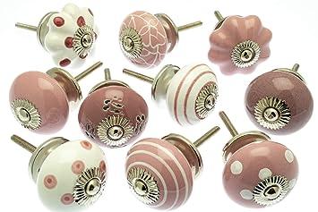 Pomelli Per Credenza Vintage : Set misto di pomelli per cassetti e comodini in ceramica rosa