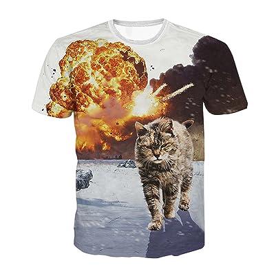 dd6818a252ec3c ETASSO Damen Herren 3D-Druck Katze T-Shirt Kurzarm Top