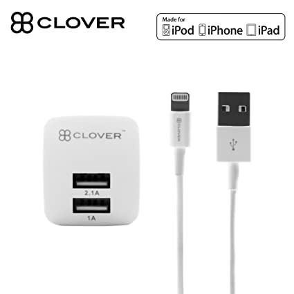 Clover Apple Certified IPhone Lightning Charger   Dual Port USB Wall Plug    For IPhone 7
