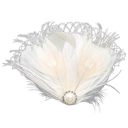ArtiDeco 1920s Feder Fascinator Haarspange Hochzeit Braut Fascinator Schleier Showgirl Haarclip Gatsby Accessoires Damen Eleg