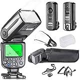 Neewer nw565ex i-TTL Slave, set flash per macchina fotografica, per fotocamere Nikon DSLR, come D7100, D7000, D5300, D5200, include: 1 flash NW565N, 1 dispositivo di scatto da 2.4 GHz, wireless + diffusore per flash duro & soffice + custodia
