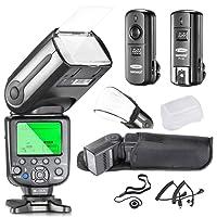Neewer NW565EX i-TTL Kit esclavo flash Speedlite para cámara réflex digital Nikon, incluye 1 NW565EX Flash, 1 Disparador inalámbrico de 2.4GHz, 1 Difusor suave/duro, 1 Soporte de tapa de lente