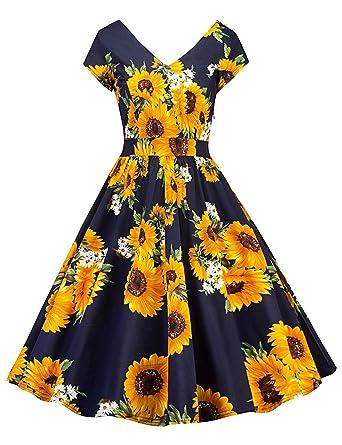 23bddaf3c7d Crissiste Women 50s Vintage Cap Sleeve Floral V-Neck A Line Midi Swing  Dresses Sun