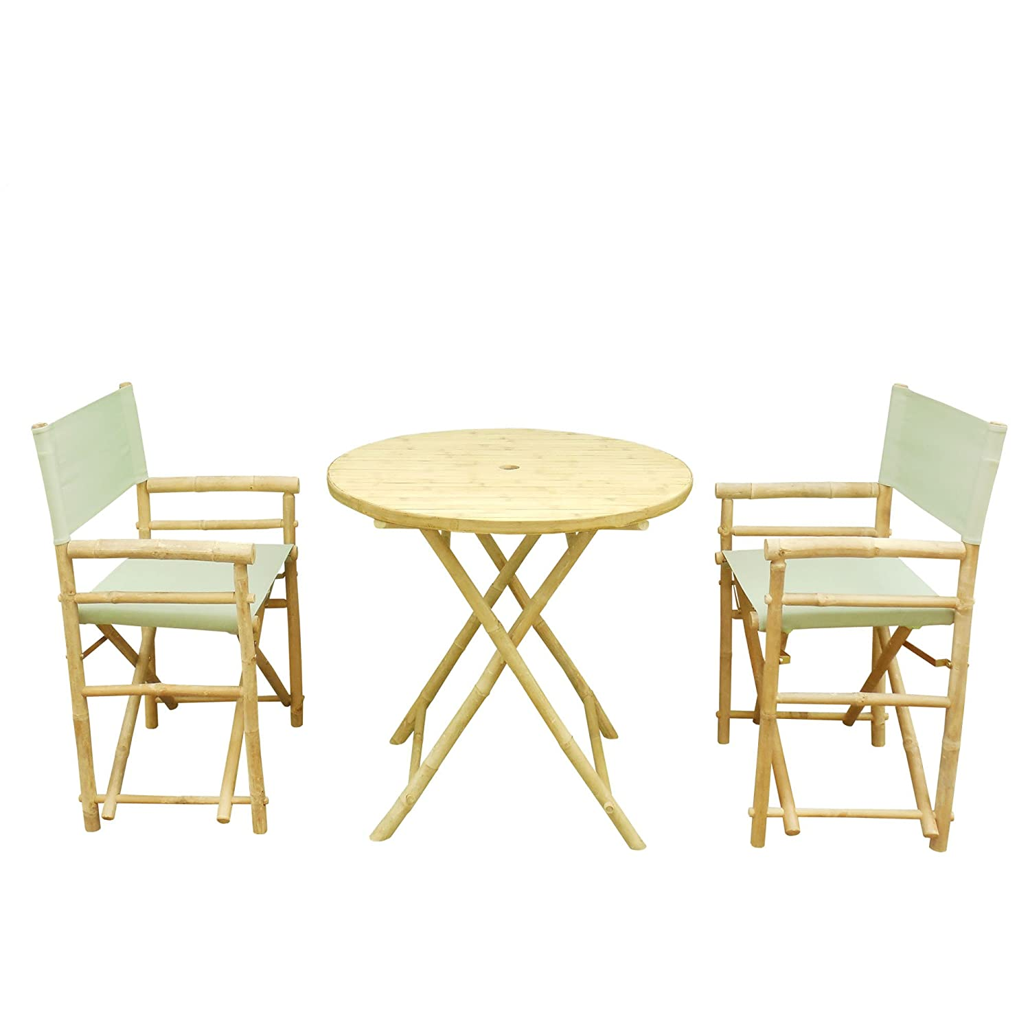 Zew Bamboo 3 Piece Bistro Dining Set With Round Folding Table And 2 Canvas