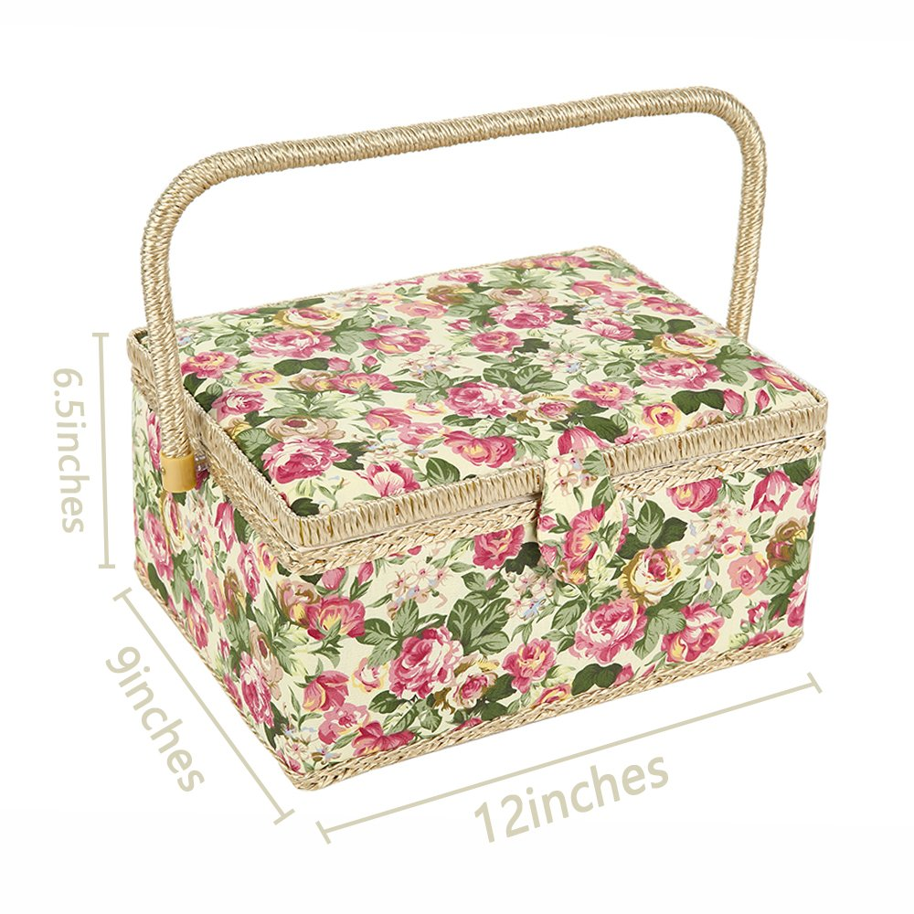 Women Sewing Gifts for Quilting and Mending,12 x 9 x 6.5 inches SAXTX Large Sewing Basket with 99Pcs Sewing Kit Accessories Wooden Sewing Box Organizer with Multiple Compartments