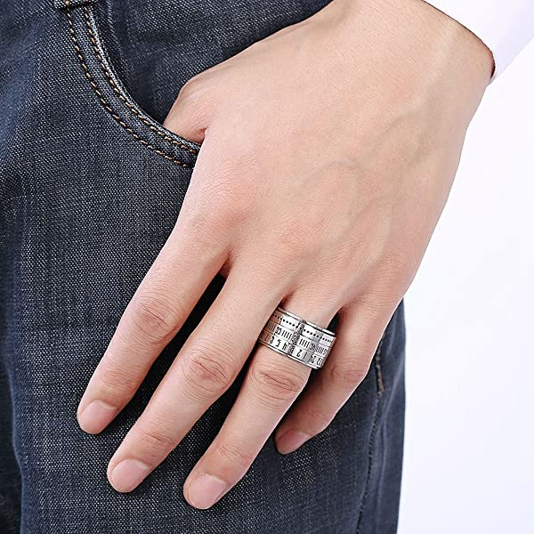 15316c5dd2499 REFURBISHHOUSE Fashion Men Time Rotating Ring Titanium Steel Arabic ...