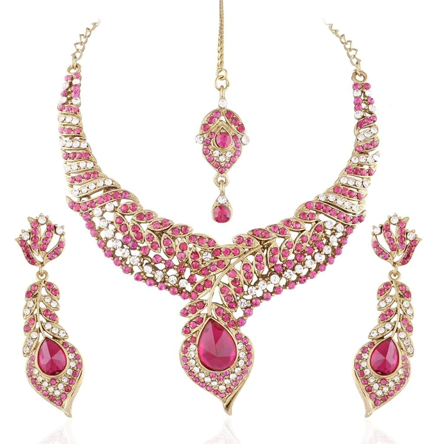 I Jewels Women's Traditional Gold Plated Stone Necklace Set With Maang Tikka Pink