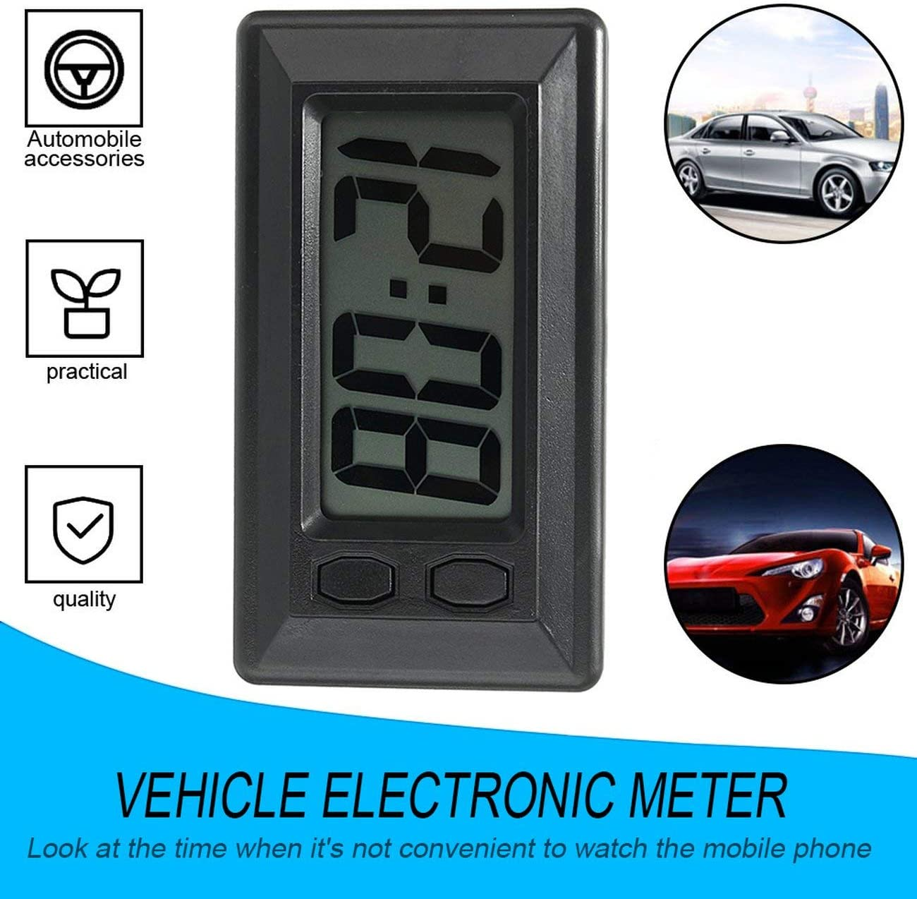 AngellCity Ultra-thin LCD Digital Display Car Vehicle Dashboard Clock with Calendar Display Mini Portable Automobile Accessories black