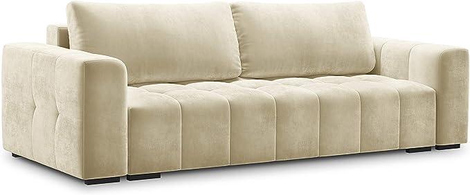 Milo Casa Luca Convertible Velvet Sofa With Storage Box 3 Seater Beige 250 X 105 X 85 Cm Küche Haushalt