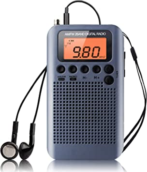 Radio Portátil Pequeña, Mini Radio de Bolsillo Am FM Estéreo Sintonización Digital Radio con Altavoz de Sonido Reloj Despertador y Temporizador Auricular (Gris-NV): Amazon.es: Electrónica