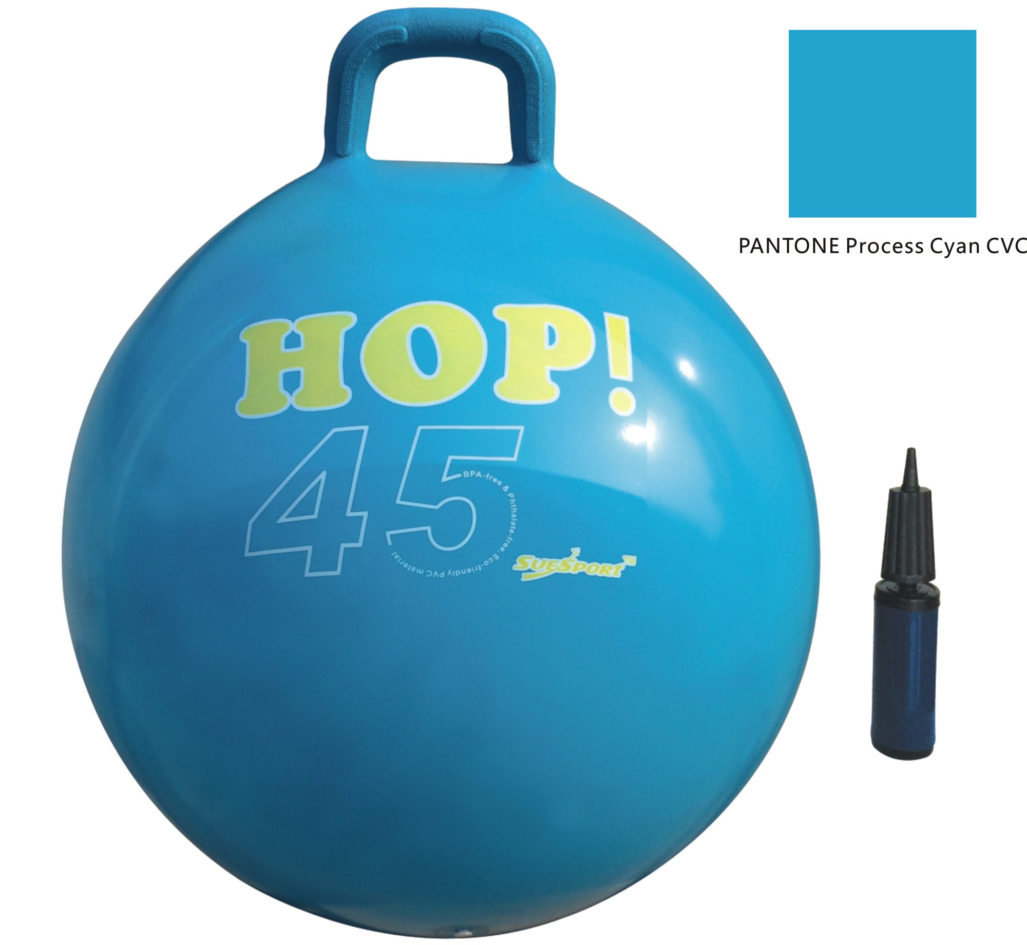 SUESPORT Hopper Ball Kit,Pump Included, 18in/45cm, Blue, Hop Ball, Kangaroo Bouncer, Hoppity Hop, Sit and Bounce, Jumping Ball, 2-Size by 3-Colors Available