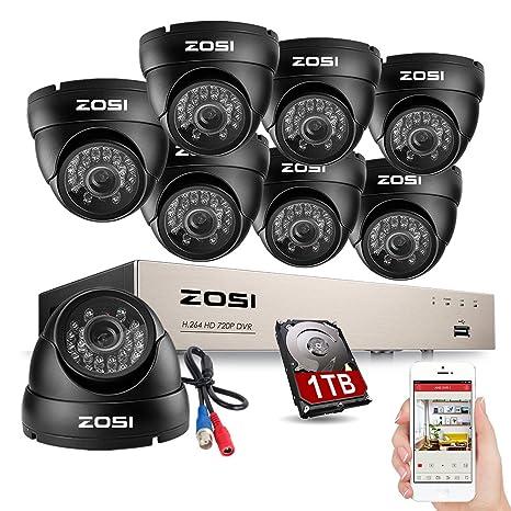 ZOSI 8 Canal CCTV Sistema de Vigilancia Nocturna Diurna Outdoor 720P Vídeo Cámara de Seguridad con