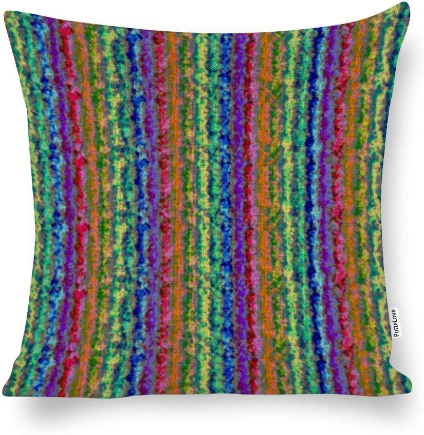 "Illusional Lighter Rainbow Cotton Linen Blend Throw Pillow Covers Case Cushion Pillowcase with Hidden Zipper Closure for Sofa Bench Bed Home Decor 24""x24"""