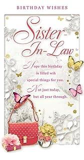 Sister In Law Birthday Card   Happy Birthday Bag, Roses U0026 Butterflies 9