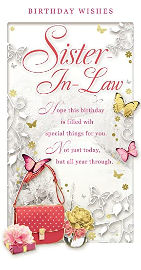 Sister in law birthday card happy birthday bag roses sister in law birthday card happy birthday bag roses butterflies 9quot bookmarktalkfo Image collections