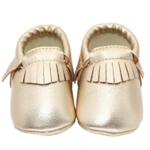 Hunzed Baby Kids Tassel Soft Sole Leather Shoes Infant Boy Girl Toddler Shoes (11, Gold)