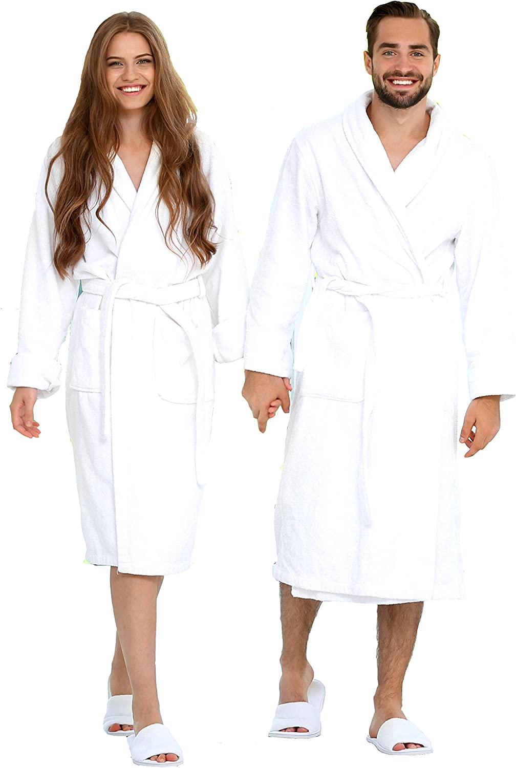 Luxury Bathrobe Towel, Spa Robe Combed Terry Cotton Organic Cloth for Men Women, Cotton Lightweight, Unisex White, Large (All Size Fit): Home & Kitchen
