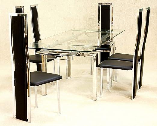 Coazze Mesa de comedor extensible de cristal, 6 sillas Troia ...