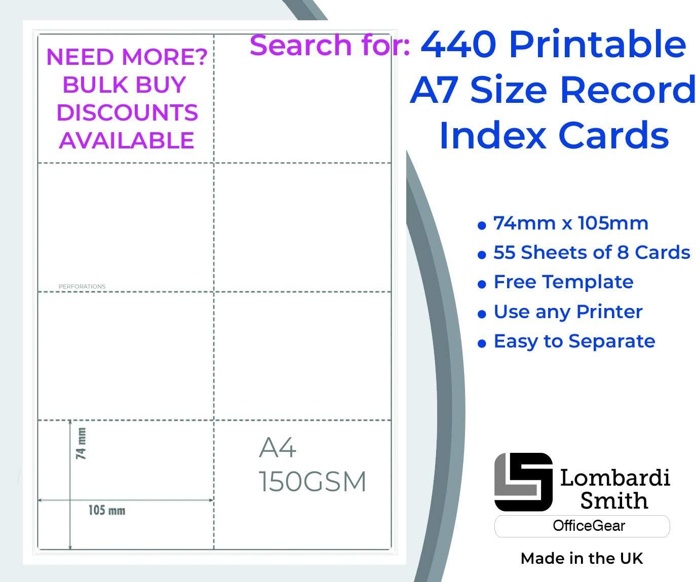 25 Blatt 200 Karten 8 Karten pro wei/ßem A4 Blatt 150 gsm OfficeGear A7 Karte perforiert bedruckbare Plattenregister Lernkarten 74 x 105 mm