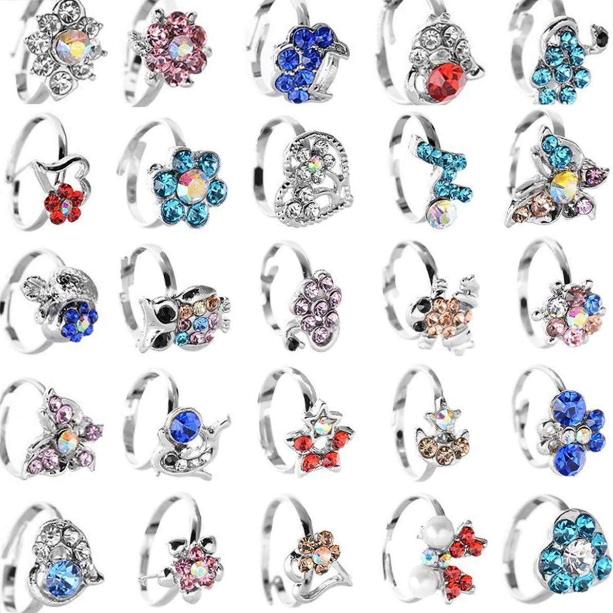 20 pcs Little Girls Ring Children Ring Kids Ring Cute Animal Flower Silver  Crystal Adjustable Rings Birthday Gift for Kids Children Girls:  Amazon.co.uk: Jewellery