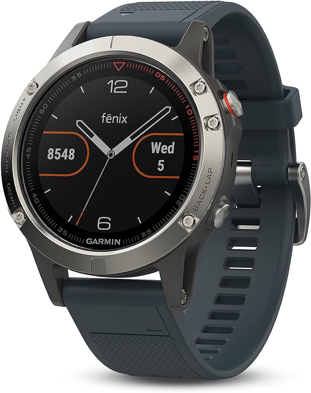 Garmin Fenix 5 - Reloj multideporte con GPS y medidor de frecuencia cardiaca, lente de cristal y bisel de acero inoxidable, 47 mm, Plata/Gris Granito (Reacondicionado)