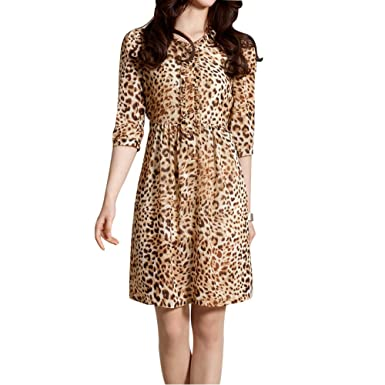 f0e1ef4a7e63 Elliscold Casual Midi Dress,Women's Leopard Print Chiffon Dress Ruffle Hem  Loose Swing Dress for