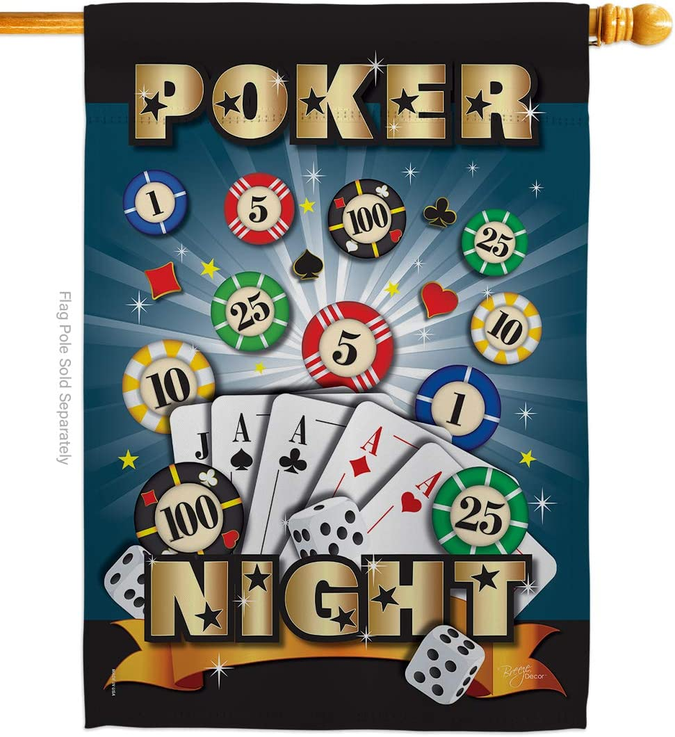 Breeze Decor Games Poker Night House Flag Interests Bunco Dice Bingo Hobbies Leisure Activity Small Decorative Gift Yard Banner Made in USA 28 X 40