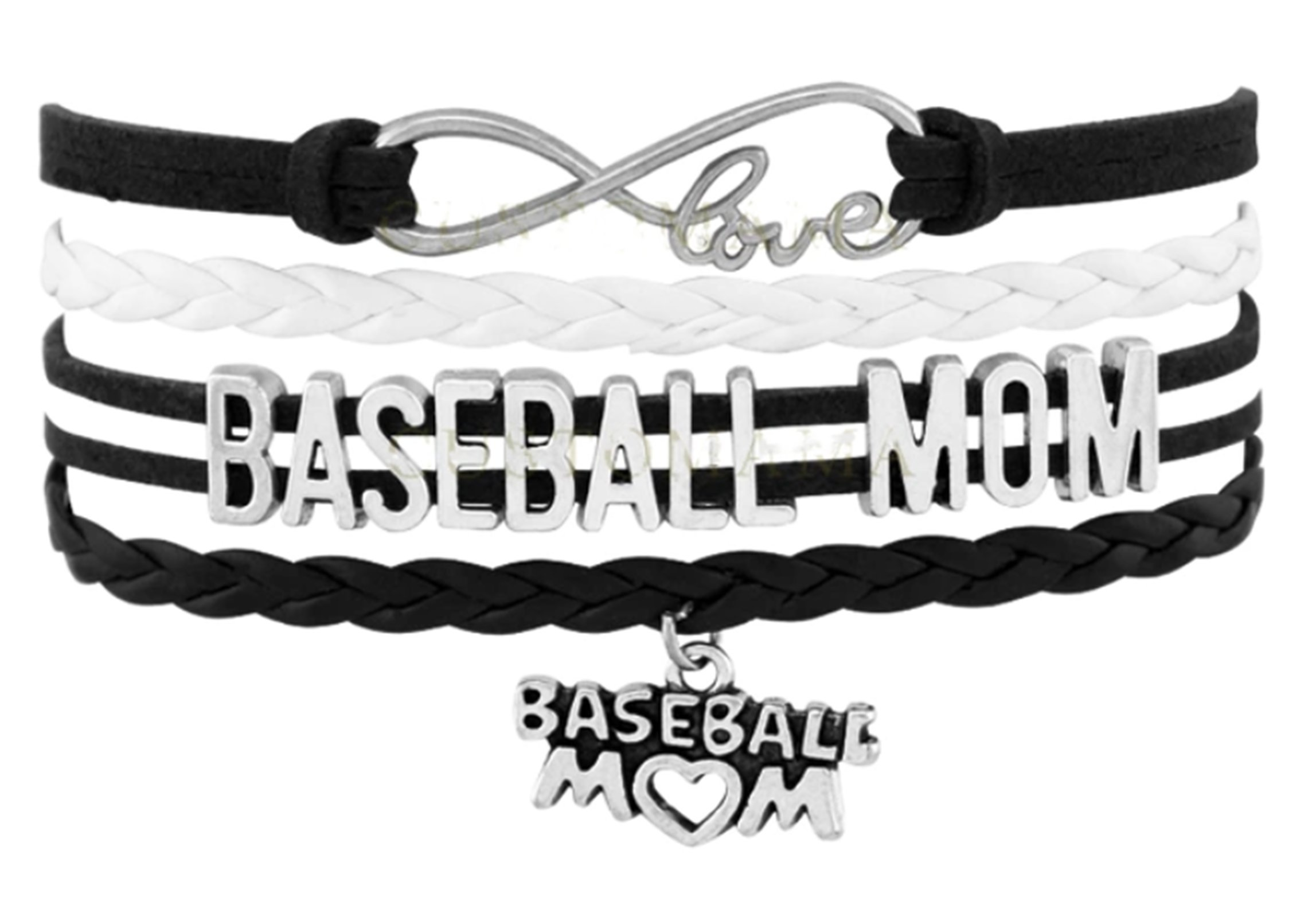 Best Wing Jewelry Baseball Mom Cord Braid Synthetic-Leather Warp Friendship Bracelets (Adjustable) (Black & White)