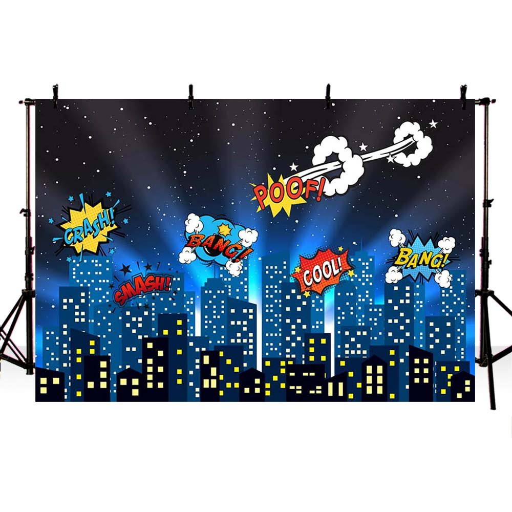 COMOPHOTO Superhero Theme Backdrop Photography City Night Scene Birthday Party Decorate Photo Background for Pictures 7x5ft
