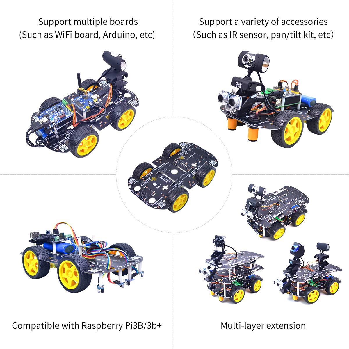 4WD Robot Chassis Kit with 4 TT Motor for Arduino/Raspberry