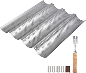 TIMESETL Baguette Pan Set, Food Grade Nonstick Coating Perforated Baguette Bread Pans for French Bread Baking 4 Loaves, with Premium Hand Crafted Bread Lame & 5 Replaceable Blades