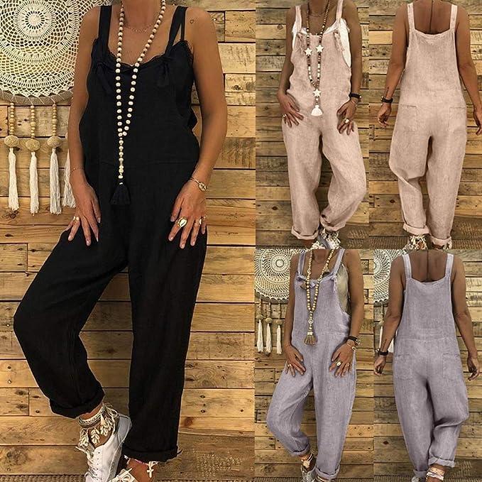 27ae63510018 JiaMeng Casual Pantalones Ropa Vestir Cintura Alta Vendaje Mono ...