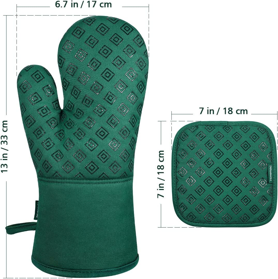 Oven Mitts and Pot Holders 4pcs Set, Food Grade Kitchen Mitten Silicone Cooking Gloves for Kitchen, Cooking, Baking (Green)