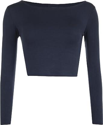 WearAll - Mujeres Manga Larga Llanura Recortar la Camiseta Corta Cuello Redondo Top