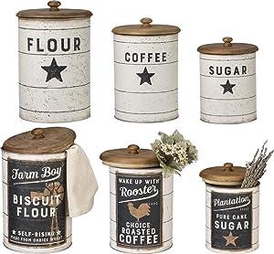 Primitives by Kathy Farmhouse Tin Canisters, Sugar/Coffee/Flour