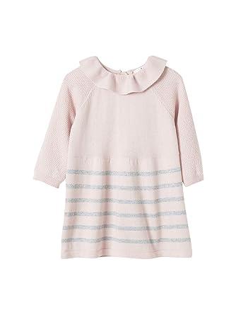 1dc2b5bd23f1 Cyrillus Baby-Kleid, gestrickt 68 Pastellrosa Grau meliert