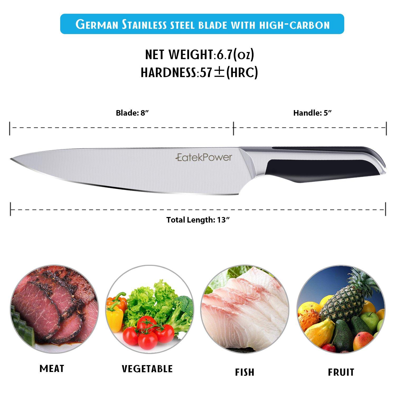 EatekPower Cuchillo de Cocina, Juego de Cuchillos de Cocina de Acero Alem Profesional de 8 Pulgadas Juego de Cuchillos de Uso General para Cortar ...