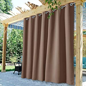 StangH Blackout Outdoor Curtains Long - Patio Waterproof Outdoor Curtains Front Porch Reduce Summer Sunlight Heat Drape for Garden / Yard / Lanai, Mocha, W100 x L84, 1 Panel