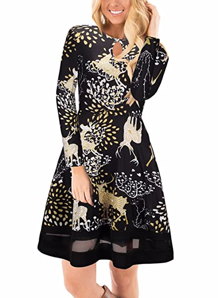 9ea7296ed30a Women's Christmas Dress Long Sleeve Reindeer Print Flared Midi Dress Black S