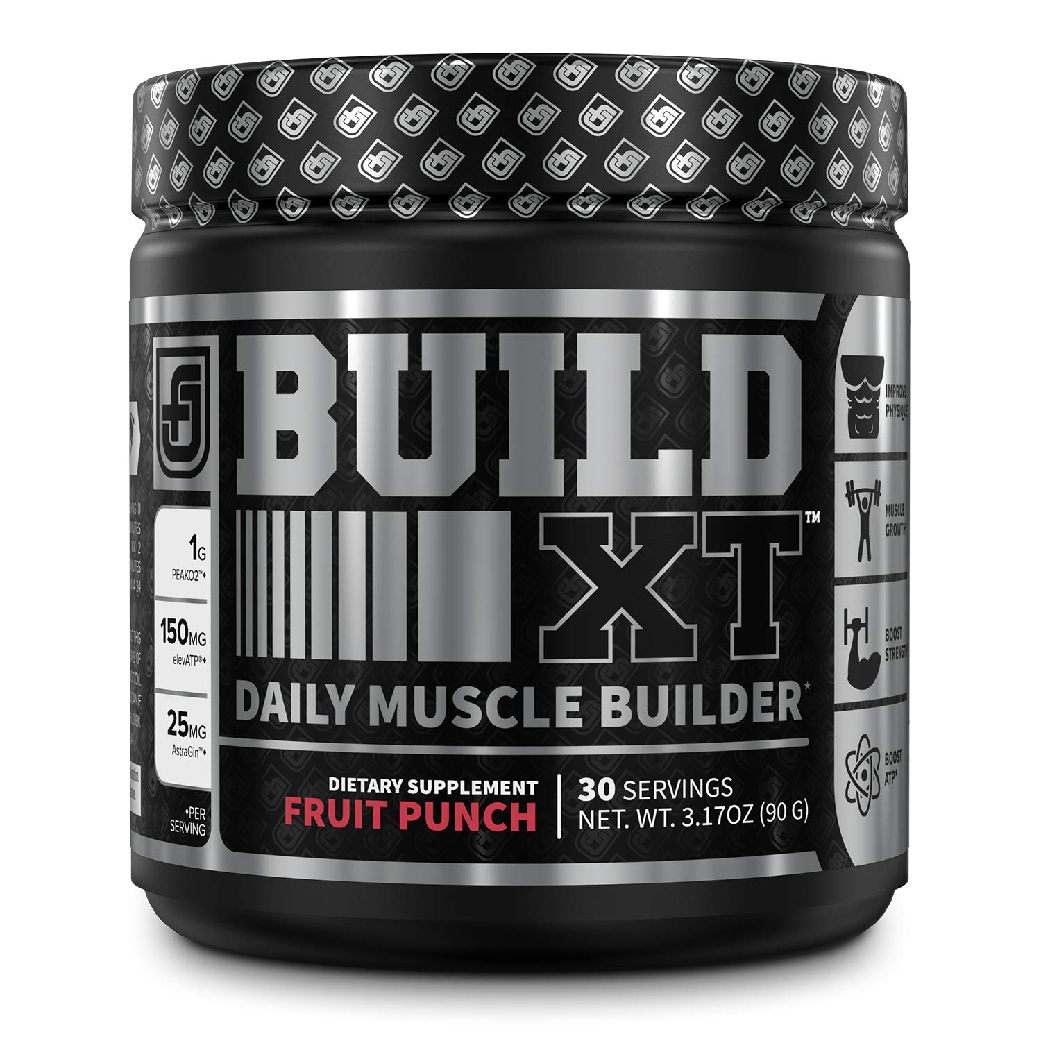 Build-XT Muscle Building Powder - Daily Muscle Builder Supplement for Muscle Growth, Strength, Endurance & Recovery | Featuring Powerful Science-Backed Ingredients Peak02 & elevATP - Fruit Punch, 30sv by Jacked Factory