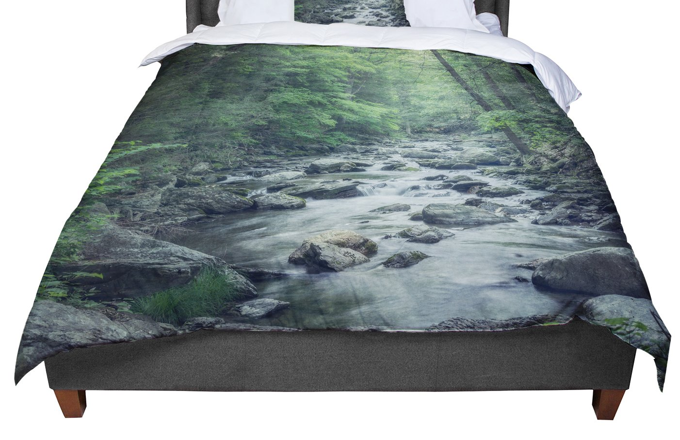 KESS InHouse Suzanne Harford 'Misty Forest Stream' Nature Photography King / Cal King Comforter, 104' X 88'