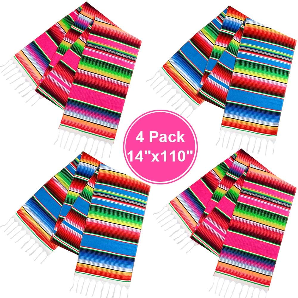 Habbi Mexican Table Runner 4 Pack 14''  x  110'' Large Mexican Theme Party Decoration for Cinco de Mayo Fiesta Party Serape Table Runner Red and Blue