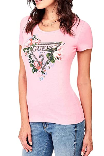 GUESS W82I06 JA900 SS RN Roses T-Shirt Mujer Rosa XS: Amazon.es: Ropa y accesorios
