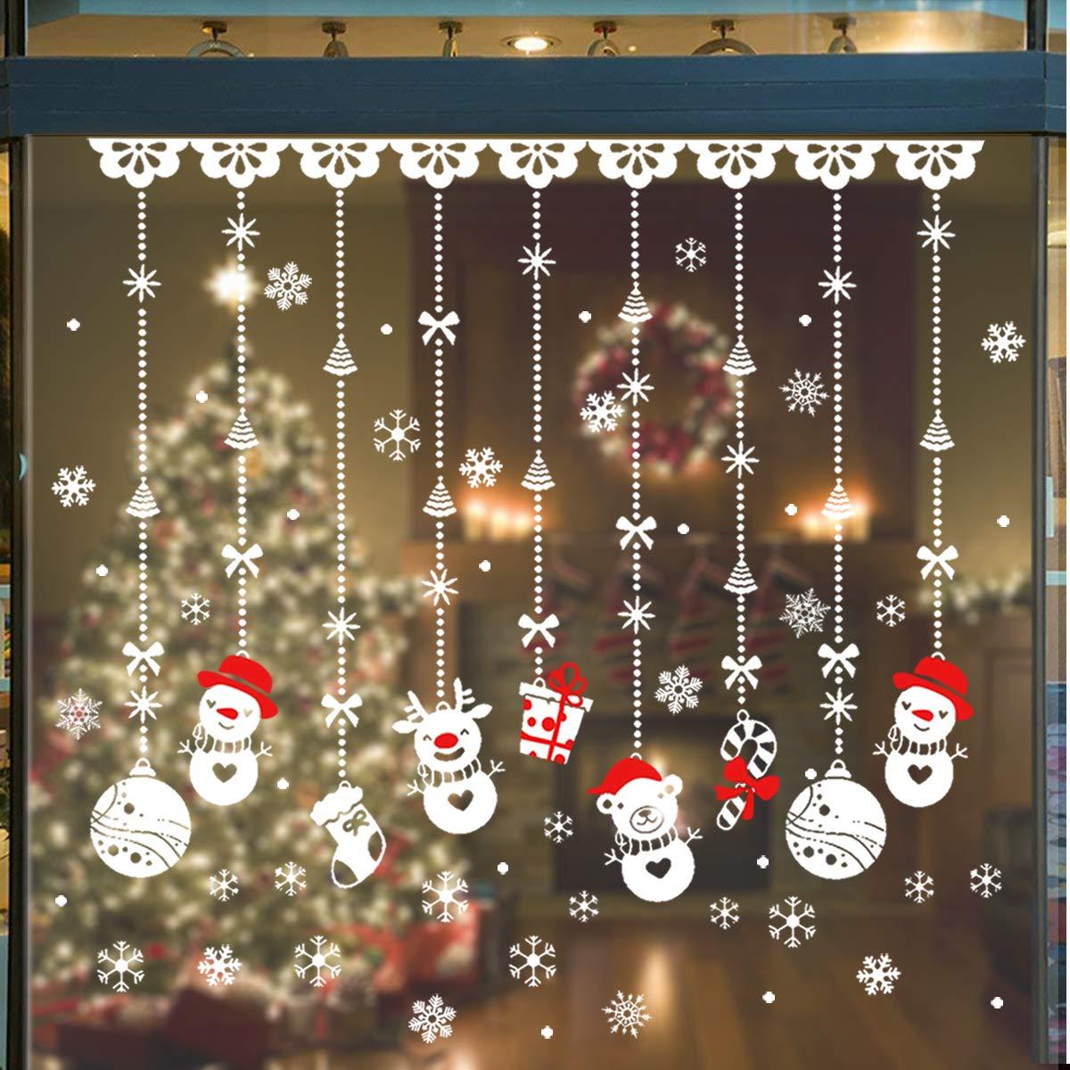Adesivi Decorativi Natalizi 180Pcs - Vetrofanie Natale Fiocco di Neve, Glueless PVC Vetrofanie Rimovibile DIY Adesivi di Natale Decora La Tue Finestre, Pupazzo/Fiocco di Neve per Vetrine Decorazione per Natale Capodanno YDK_Store