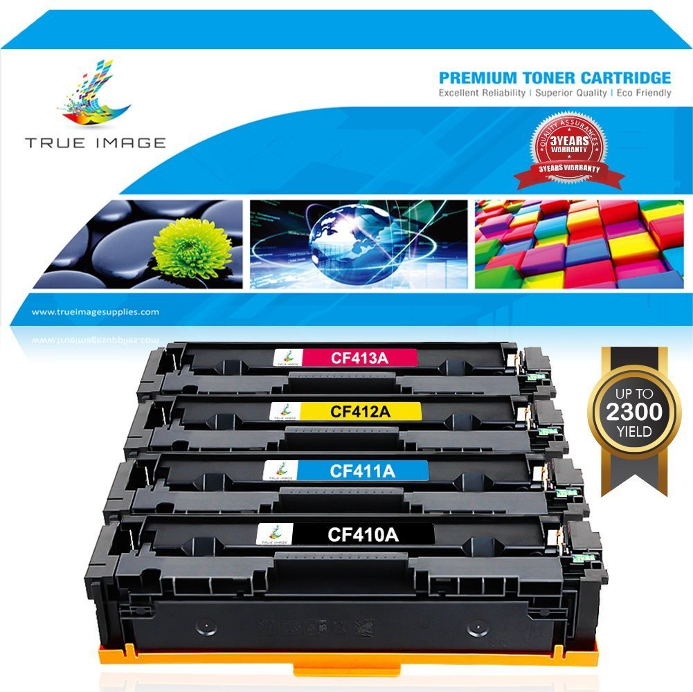TRUE IMAGE Compatible HP 410A 410X CF410X CF410A M477fnw Toner Cartridge for HP Color LaserJet Pro MFP M477fdw M477fnw M477fdn M477, M452dw M452nw M452dn M452 M377dw (CF410A CF411A CF412A CF413A)4Pack