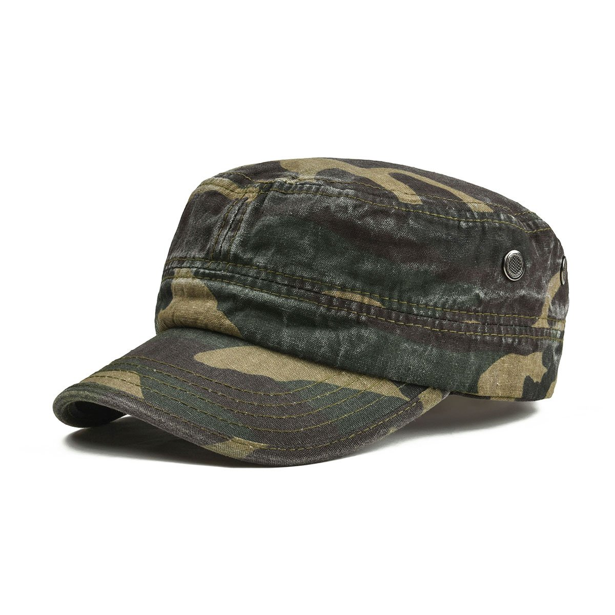 83d66ef8a2b46c VOBOOM Washed Cotton Military Caps Cadet Army Caps Unique Design Vintage  Flat Top Cap (Green Camouflage): Amazon.ca: Clothing & Accessories
