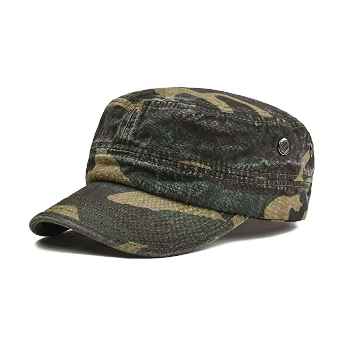 14bef7db4a0486 VOBOOM Washed Cotton Military Caps Cadet Army Caps Unique Design Vintage  Flat Top Cap (Green Camouflage): Amazon.ca: Clothing & Accessories