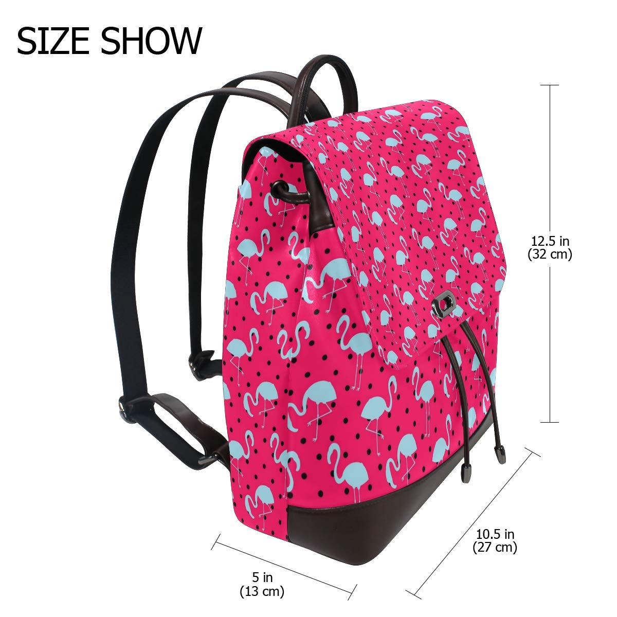Leather Flamingo Dotted Pattern Blue And Pink Backpack Daypack Bag Women