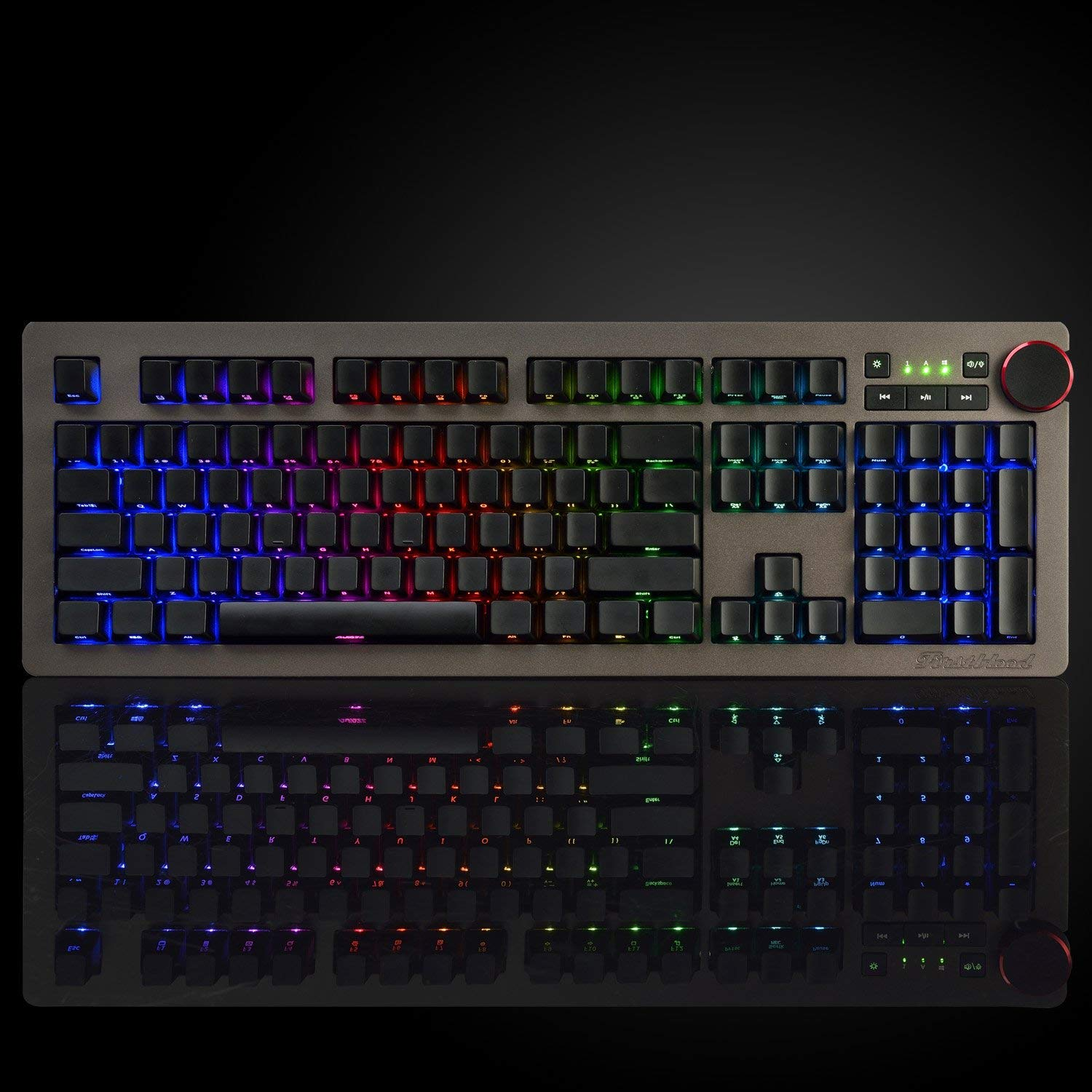 Ajazz Halo AK60 Side Carving RGB Mechanical Keyboard with Blue Switches, Special Multimedia Knob Wired Backlit Gaming Keyboard, Black